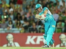 Chris Lynn smashes one during his unbeaten half-century, Sydney Thunder v Brisbane Heat, Big Bash League, Sydney, December 28, 2012