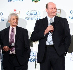 Richie Benaud and Tony Greig at the launch of the Ashes, Sydney, November 16, 2010