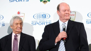 Richie Benaud and Tony Greig at the launch of the Ashes