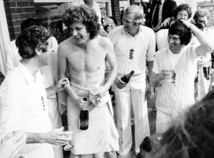 Mike Brearley, Bob Willis, Tony Greig and Alan Knott celebrate England's Ashes win, England v Australia, 4th Test, Headingley, 5th day, August 15, 1977