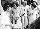 Mike Brearley, Bob Willis, Tony Greig and Alan Knott celebrate England's Ashes win