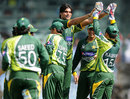 Mohammad Irfan celebrates after getting rid of Gautam Gambhir