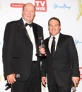 Tony Greig and Michael Slater with their Logie awards at Crown Palladium, Melbourne, May 1, 2011