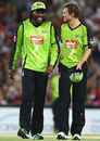 Chris Gayle and Dirk Nannes share a laugh