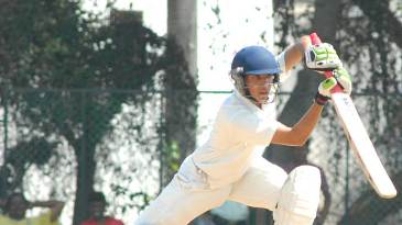 Rahul Dalal drives one through the off side