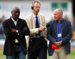 Viv Richards, Christopher Martin-Jenkins and Vic Marks on the field, England v West Indies, 2nd Test, Headingley, 2nd day, May 26, 2007
