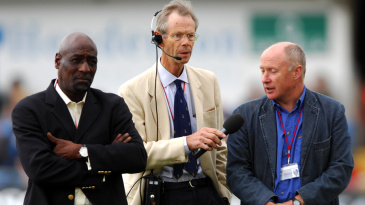 Viv Richards, Christopher Martin-Jenkins and Vic Marks on the field