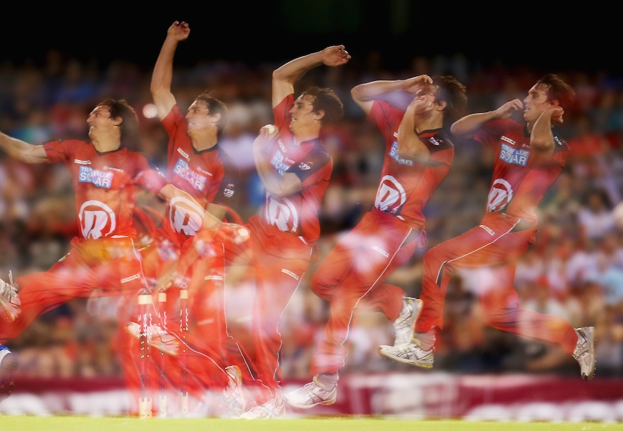 William Sheridan bowling as captured in a multiple exposure shot