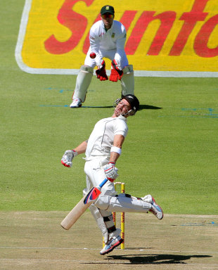 Brendon McCullum evades a bouncer, South Africa v New Zealand, 1st Test, Cape Town, 1st day, January 2, 2013
