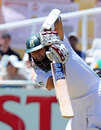 Hashim Amla drives on his way to a half-century