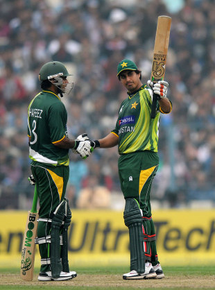 Nasir Jamshed celebrates a second successive ton in the series, India v Pakistan, 2nd ODI, Kolkata, January 3, 2013