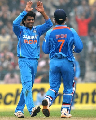 Ravindra Jadeja is all smiles after picking up a wicket, India v Pakistan, 2nd ODI, Kolkata, January 3, 2013