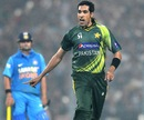 Umar Gul after picking up Yuvraj Singh's wicket