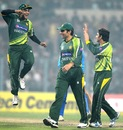 Mohammad Hafeez leaps with joy after Saeed Ajmal strikes
