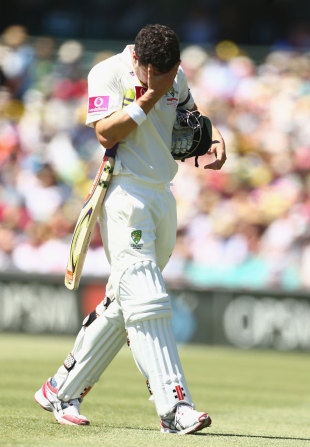 A dejected Ed Cowan after being run out for 4, Australia v Sri Lanka, 3rd Test, Sydney, 2nd day, January 4, 2013