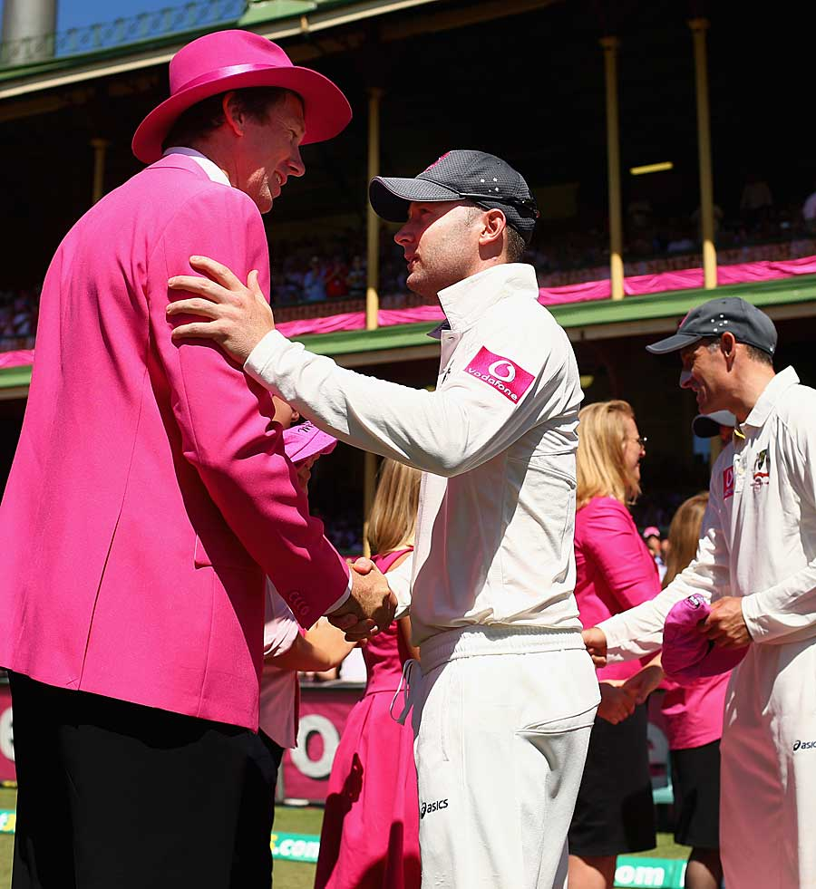 Michael Clarke greets Glenn McGrath on Jane McGrath day at the SCG