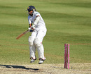 Mahela Jayawardene plays a delivery uncomfortably