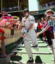 Michael Hussey walks in for his final Test innings