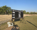 The scoreboard at the Saurashtra University Ground, Rajkot, January 6, 2013