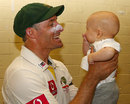 Michael Hussey holds his baby Oscar, Australia v Sri Lanka, 3rd Test, Sydney, 4th day, January 6, 2013