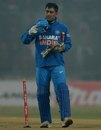 MS Dhoni leaves with a stump