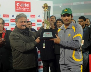 Misbah-ul-Haq with the trophy after Pakistan beat India 2-1 in the ODI series