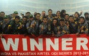 The Pakistan team after the 2-1 victory, India v Pakistan, 3rd ODI, Delhi, January 6, 2013