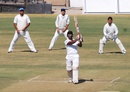 Imtiaz Ahmed hits over the top, Services v UP, Ranji Trophy Quarter-final, Indore, 1st day, January 6, 2012
