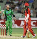 Shane Warne yells at Marlon Samuels, Melbourne Stars v Melbourne Renegades, Big Bash League, MCG, January 6, 2013