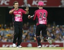 Steve O'Keefe is congratulated after picking up a wicket, Brisbane Heat v Sydney Sixers, Big Bash League, Gabba, January 7, 2013