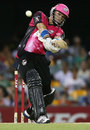 Michael Lumb goes over the top during his 61, Brisbane Heat v Sydney Sixers, Big Bash League, Brisbane, January 7, 2013
