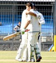 Rajat Paliwal being congratulated after completing his hundred, Services v UP, Ranji Trophy Quarter-final, Indore, 2nd day, January 7, 2012