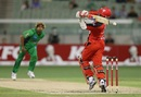 Marlon Samuels is hit by a bouncer from Lasith Malinga