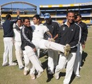 Soumik Chatterjee, the Services captain, won the match despite his injured leg, Services v Uttar Pradesh, Ranji Trophy quarter-final, Indore, 3rd day, January 8, 2013