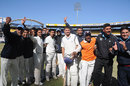 Services celebrate their entry to the Ranji semi-finals, Services v Uttar Pradesh, Ranji Trophy quarter-final, Indore, 3rd day, January 8, 2013