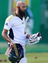 Hashim Amla goes out to bat at the nets