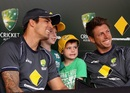 Mitchell Johnson and James Pattinson with fans at the launch of the ODI series