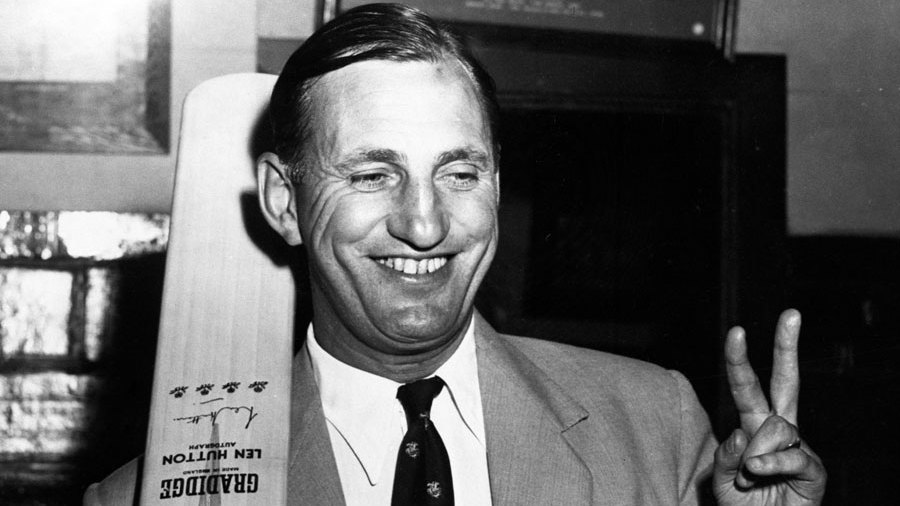 England captain Len Hutton showing his pleasure after the five wicket win over Australia in the 4th Test at Adelaide