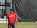 India's bowling coach Joe Dawes at practice, Rajkot, January 10, 2013