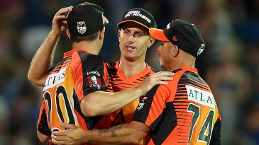 Perth Scorchers celebrate their 98-run win over Adelaide Strikers