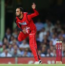 Fawad Ahmed bowls during his BBL debut, Sydney Sixers v Melbourne Renegades, BBL 2012-13, January 9, 2013