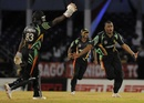 Christopher Barnwell celebrates a wicket, Barbados v Guyana, Caribbean T20, Trinidad, January 10, 2013