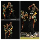 Steven Jacobs takes a catch after colliding with Ramnaresh Sarwan, Barbados v Guyana, Caribbean T20, Trinidad, January 10, 2013