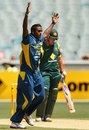 Ajantha Mendis celebrates a wicket, Australia v Sri Lanka, 1st ODI, Melbourne, January 11, 2013