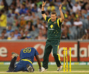 Xavier Doherty reacts as Angelo Mathews is run out, Australia v Sri Lanka, 1st ODI, Melbourne, January 11, 2013