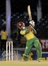 Keddy Lesporis goes for a drive, CCC v Windward Islands, Caribbean T20, Trinidad, January 10, 2013