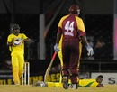 Andre Russell lies on the ground after the match is tied, Jamaica v Leeward Islands, Caribbean T20, January 11, 2013
