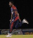 Derone Davis celebrates his hat-trick, Barbados v CCC, Caribbean T20, January 11, 2013