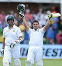 Dean Elgar raises his arms after getting to a hundred, South Africa v New Zealand, 2nd Test, Port Elizabeth, 2nd day, January 12, 2013