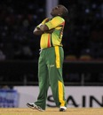 Liam Sebastien strikes a pose after taking a wicket, Leeward Islands v Windward Islands, Caribbean T20, January 12, 2013